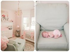 Baby girl nursery in pale pink, soft grey, and robin's egg