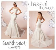 Our Dress Of The Week is the sultry style 5979. This sassy taffeta pleated sweetheart neckline has a drop waist mermaid skirt. This wedding gown has a chapel length train and fabric buttons that cover the back zipper.    #dress #weddingdress #bride #beautiful #love