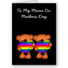 #Pride Heart Teddy Bear #Mothers Day  Cute greetings card .. mothering Sunday card ... #lesbian couple cute teddy greetings card from #Ricaso