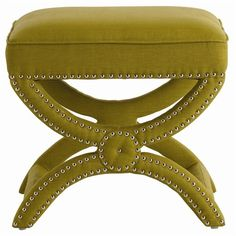 Pistachio linen stool: kind of a funky color, so it might be hard to incorporate into a room, but I like the style. studs, pistachio linen, bench, pistachios, tennyson pistachio, linens, nickel stud, linen stool, stools