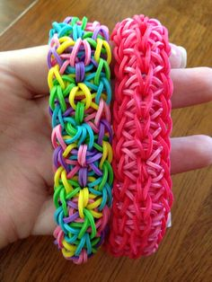 Different looks for STARBURST Rainbow Loom bracelets. Multi-color and 2-color.