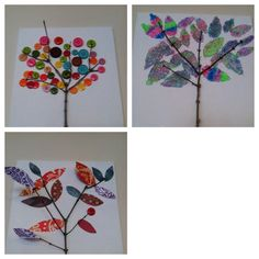 Twig Art  This is a craft I did with residents at the nursing home I work at!  Very easy just take a twig hot glue it I canvas then you can make glitter leaves paper leaves or my favorite buttons