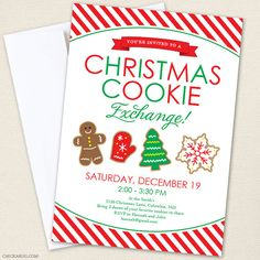 Adorable Christmas cookie party invitations!