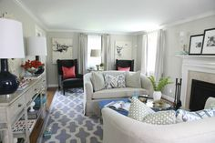 Living room in grays and blues.. Furniture layout