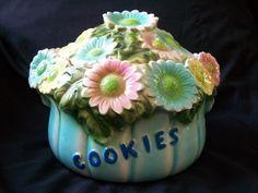 VTG RETRO DAISY FLOWER COOKIE JAR