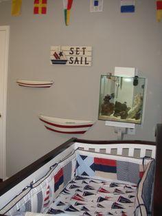 "#Anchors & #boats & #sails, oh my! This #nautical #nursery screams ""Ahoy matey!"""