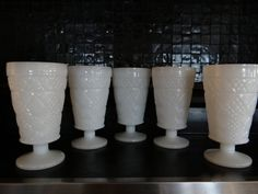 Hazel Atlas Milk Glass Parfait Cups by OldeHome on Etsy, $30.00