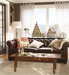 pottery barn chesterfield - this would work in the family room in front of the windowseat... decor, coffee tables, living rooms, leather couch, leather sofas, potteri barn, hous, live room, pottery barn