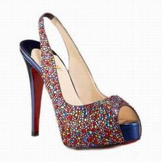 Christian Louboutin Jeweled Multi Glitter Peep Toe Platform Slingbacks Sale Shop