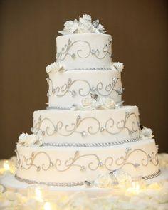 Reception, Cake, White, Silver
