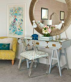 Trestle desk, lucite chair, round mirror, colors...