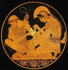 Achilles binding the wounds of his friend Patroclos,