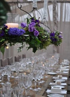 Hanging floral centerpieces lisianthus, narcissus, seeded eucalyptus, hydrangea...The Style Salon