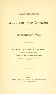 Massachusetts soldiers and sailors of the revolutionary war On openlibrary.org