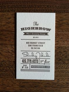 Highbrow Men's Grooming Lounge Business Cards by Ian Vadas - 500 for $650