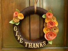 Thanksgiving Wreath - Fall Wreath - Yarn Wrapped Wreath with Felt Flowers - Give Thanks - 16 inch on Etsy, $33.00