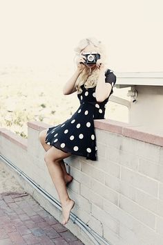 #spotted #dots #fashion #street #style #dress #black #casual #photo