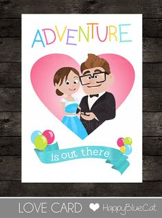 Valentines Day Card - Inspired by UP! - 5x7 inch Printable - Instant Download - Adventure is out there