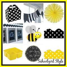 bee classroom theme decor by Schoolgirl StyleI HEART School Inspiration  Yellow black and white classroom theme and decor by Schoolgirl Style www.schoolgirlstyle.com