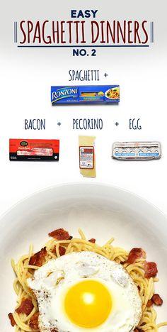 Spaghetti with Bacon, Pecorino, and Fried Egg | 19 Delicious Spaghetti Dinners
