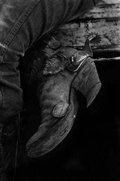 cowboy in black and white