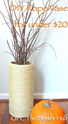 DIY Large Rope Vase for Cheap