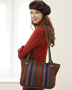 Free Crochet Striped Tote Bag Pattern| FaveCrafts.com