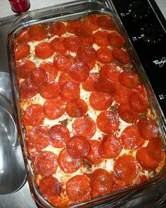 Might have to try this one!   PIZZA CASSEROLE  Ingredients:  1 bag of Egg Noodles  1 extra large can of Ragu sauce   3 cups shredded mozzarella cheese   1 1/2 lbs hamburger meat  1 package pepperonis  layer 1/2 ingredients in 9x13 pan,  cover w remaining ingredients and top w/ pepperoni. Cover w foil.  Bake covered at 350' for 30 mins, remove foil, bake 15 mins more.
