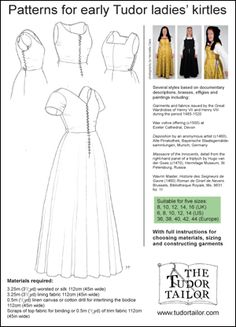 early tudor ladies kirtles; The Tudor Tailor