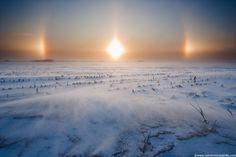 Sun Halo and Iowa Winter