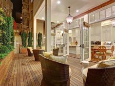 French doors open from the chef's kitchen to a spacious deck.
