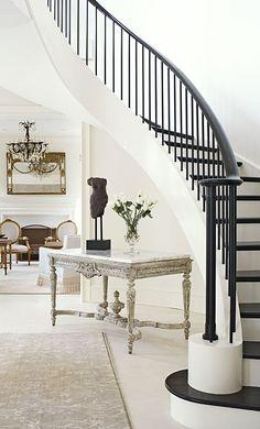 Antique consolle+modern stairway  #Entry #Home  #Irvine #RealEstate ༺༺  ❤ ℭƘ ༻༻ IrvineHomeBlog.com