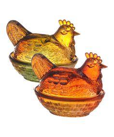 Glass Hen Jar Set