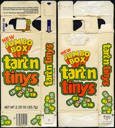 "Tart'n Tinys ""New Jumbo box"" candy box - 1979. I seriously miss these candies. I think they were discontinued in the (mid?) 90s. WHY??!!"