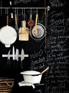 hanging kitchen rail, chalkboard wall