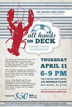 """Join your favorite Red Bank Flavours on April 11th at The Oyster Point Hotel for """"ALL HANDS ON DECK""""- this event will benefit The Boondocks Fishery!"""