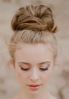 high bun. Love this! Bridesmaids? :)