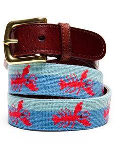 Lobster Needlepoint Belt