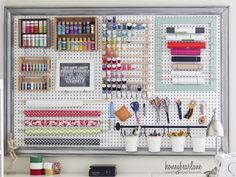 extra large pegboard craft room organization 1024x926 6 Fresh Ideas For Pegboard Organization - Interesting idea for threads, washi tape, paints, and brushes