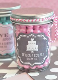Personalized Wedding Mini Mason Jars, Style EB2310PW #davidsbridal #pinkweddings