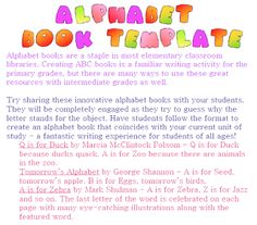 "FREE LANGUAGE ARTS LESSON - ""FREE Alphabet Book Template"" - Go to The Best of Teacher Entrepreneurs for this and hundreds of free lessons.   Pre-Kindergarten - 8th Grade  #FreeLesson   #TeachersPayTeachers   #TPT   #LanguageArts   http://www.thebestofteacherentrepreneurs.net/2011/08/free-language-arts-lesson-free-alphabet.html"