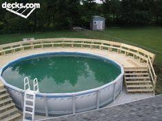 around the pool ideas, decks around pools, pool deck ideas, above ground pools ideas, above the ground pool