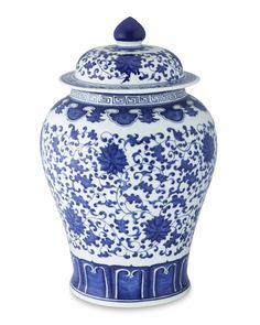 Fabulous Furnishings. Cobalt blue and white ginger jar.