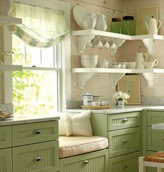 Shelves, storage & green... How cute!