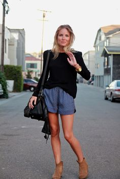 polka dots, summer looks, ankle boots, high waisted shorts, outfit, street styles, comfy casual, fashion spring, spring style