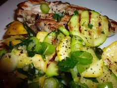 Lemon Pepper Chicken with Zucchini Salad...Lo Fat and Lo Carb...healthy and tasty