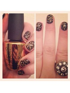 OPI's Man With the Golden Gun (18K gold-leaf top coat) looks pretty over a darker color for fall!