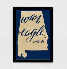 War Eagle - Alabama State Print (Auburn)