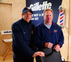 US Men's Hockey player Ryan Suter stopped by the #PGFamily home with his Gold medal dad courtesy of GIllette. Getty Images 2014.