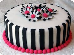 fondant striped birthday cake